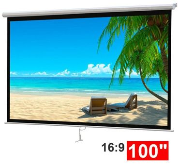 Go to buy 100″ Projector 16:9 Projection Screen Manual Pull-down  #Go #to #buy…