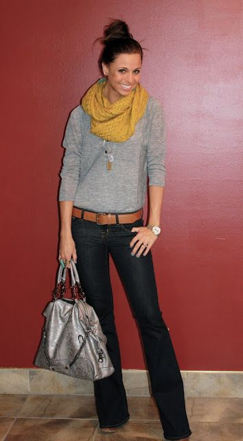 Jeans, grey t-shirt, yellow scarf, casual outfit