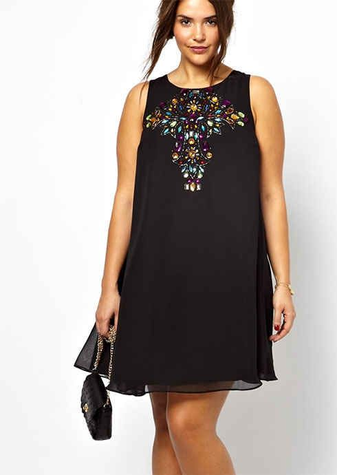 Swing Dress With Embellished Cross, $81.67, ASOS   30 Rad Plus Size Holiday Party Dresses Under $100