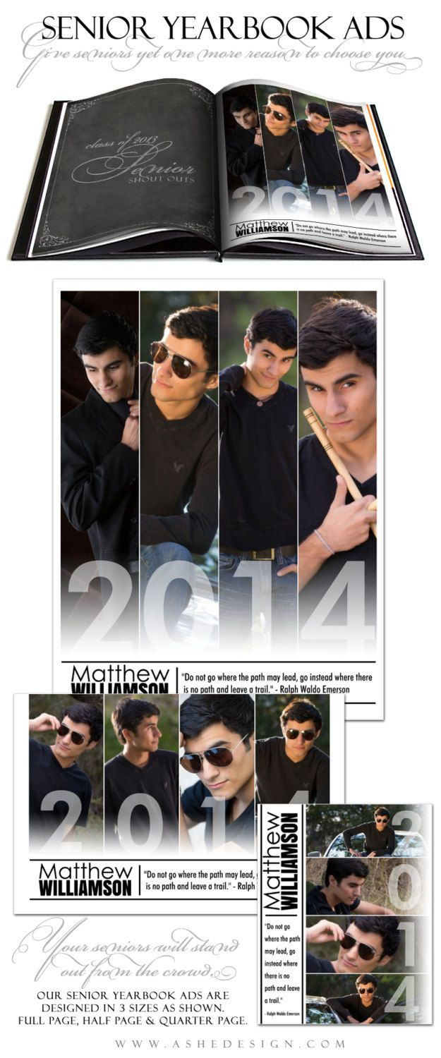 Senior Yearbook Ad Sets for Photographers FOLLOW by ashedesign