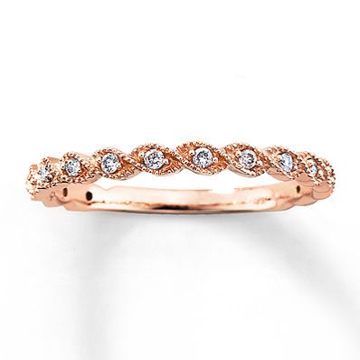 Beautiful for a PURITY RING, 8th grade graduation gift!  Have it engraved!  Diamond Ring 1/10 ct tw Round-cut 14K Rose Gold