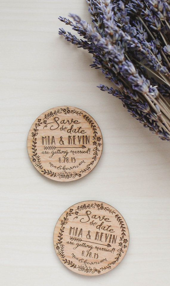 Custom Engraved Save the Date Wood Magnet by RedCloudBoutique