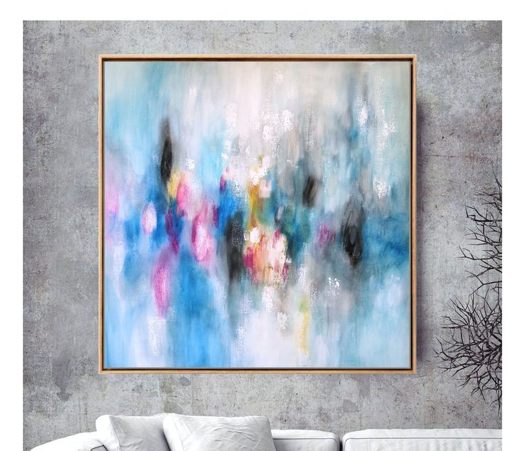 "Large 36×36 Blue Abstract Painting – Original Canvas Art Above Couch Or Above Bed Bright And Positive Art ""Bouquet"""