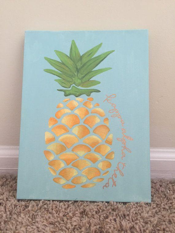 Pineapple Kappa Alpha Theta Canvas by ShopKaylieZander on Etsy