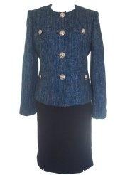 KASPER Bright Accents Textured Jacket/Skirt Suit