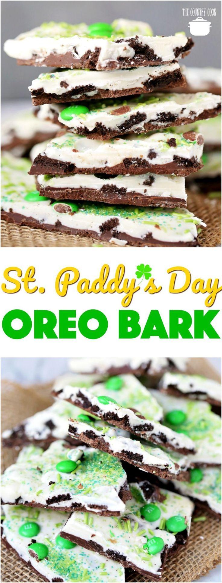 St. Patrick's Day No-Bake Oreo Bark recipe from The Country Cook #desserts #nobake #easy #recipes #ideas #StPatricksDay #kidfriendly #Oreos