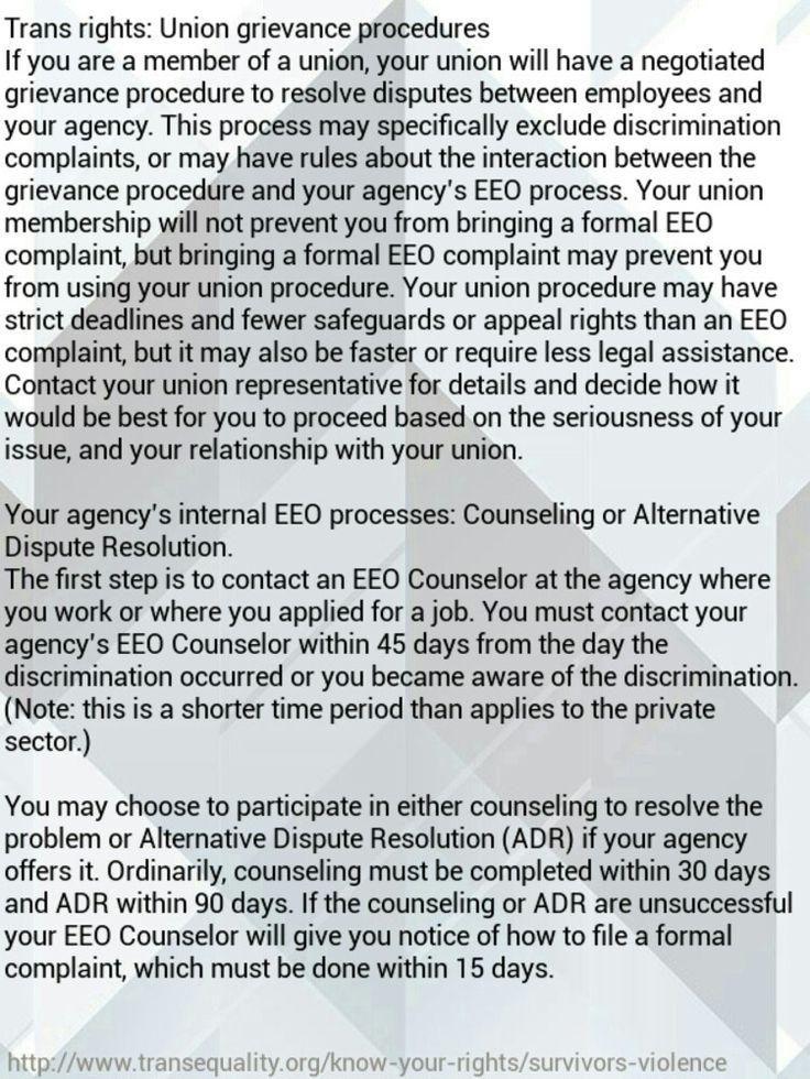 Trans rights: Union grievance procedures