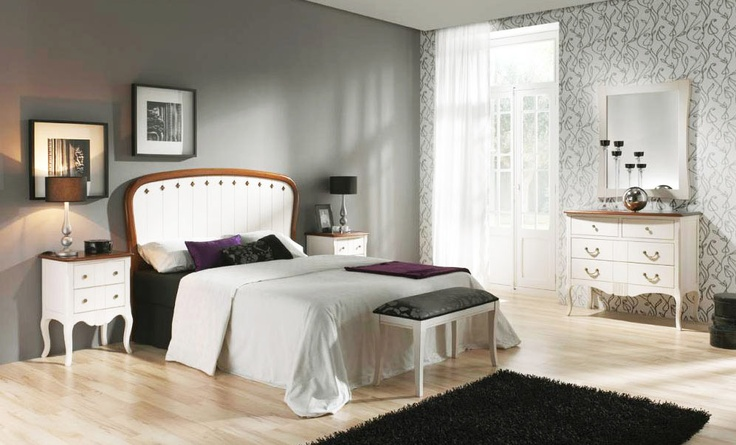 Classic bedroom furniture made of solid beech wood. Ref. DM-175A. Lacquer off white. Headboard available in 6 sizes. More in www.tudecora.com