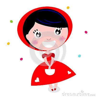 Cartoon red riding hood. Vector Illustration