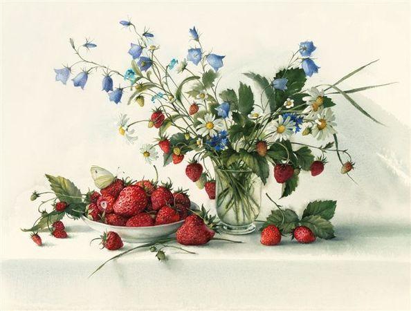 Elena Bazanova 'Wild Strawberries With Daisies & Harebells' Ltd Edition Giclée Print Of Watercolour H41x W54cm £240 Framed, £140 Unframed