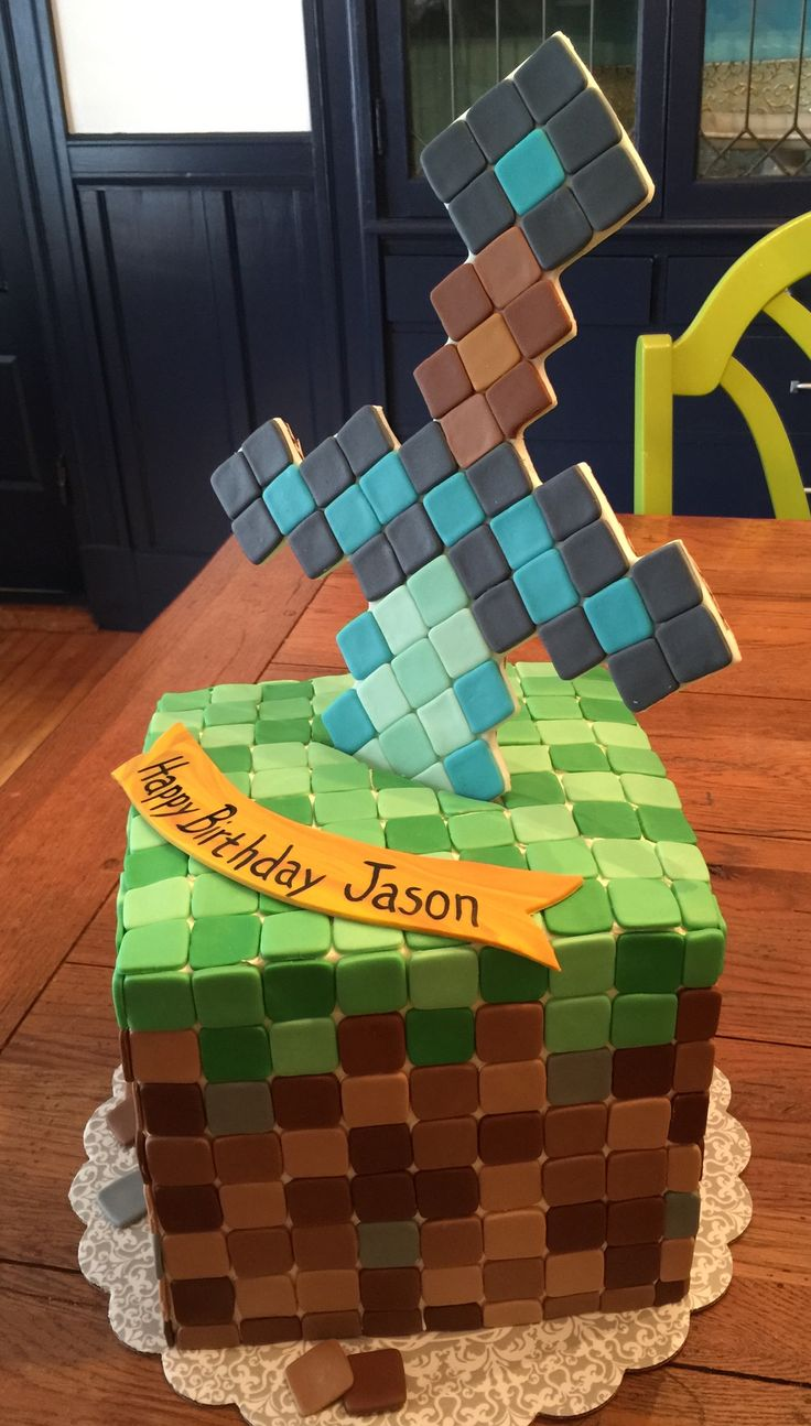 Minecraft Block Cake Images : Minecraft cake. Dirt block with diamond sword. StricLee ...