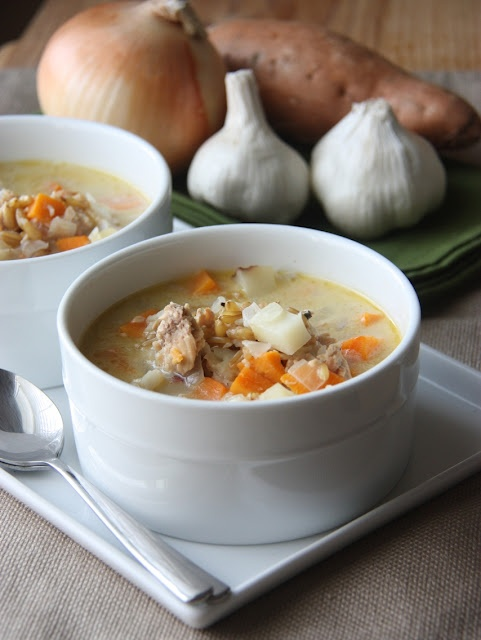 Autumn Fish Chowder with Kamut  This sounds tasty, and NOT your run of the mill soup.