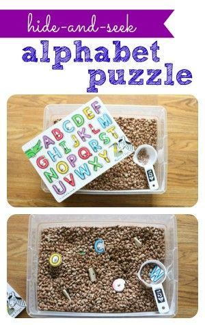 Alphabet Puzzle ~ So much more fun when the pieces are hidden in a tub of beans!