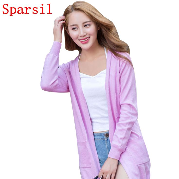 Sparsil Women's Mid-Long Cardigan Knitted Sweater Full Sleeves Cashmere Blend Female Solid Color No Button Knitwear With Pockets