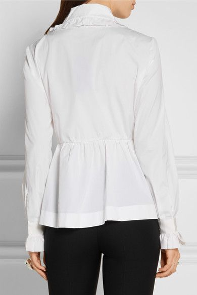 Fendi - Ruffled Cotton-poplin Peplum Shirt - White - IT42