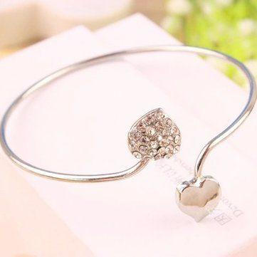 Silver Double Love Heart Cuff Bracelet Bangle Woman Jewelry at Banggood