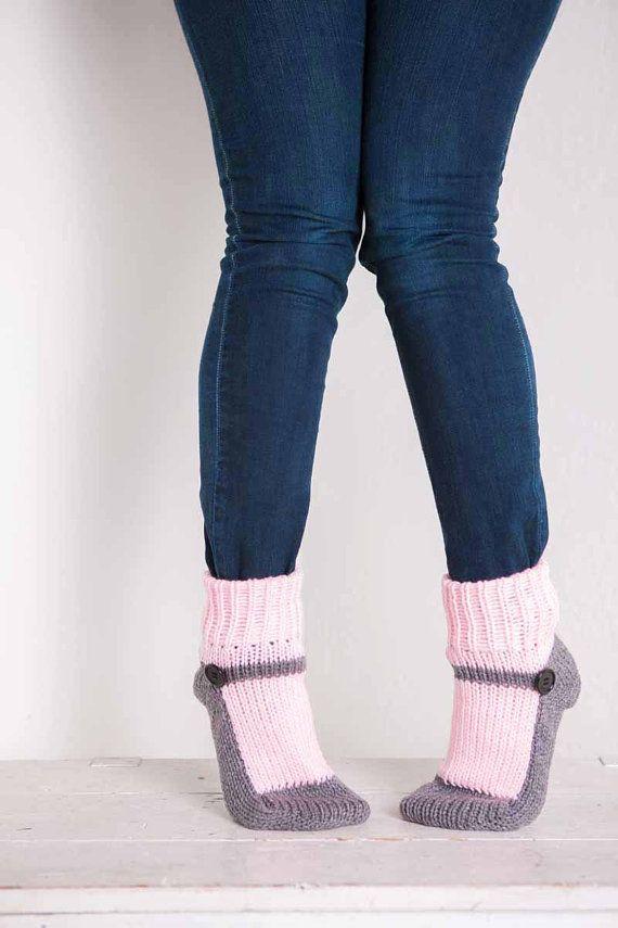 Knit Slipper Sock Adult Maryjane Slipper Sox Pink House Slippers Womens Slippers Grey Home Slippers Gray House Shoes Home Shoes