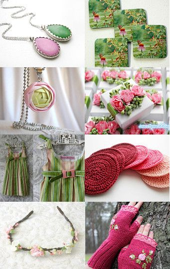 Pink and green by Cristina on Etsy--Pinned with TreasuryPin.com