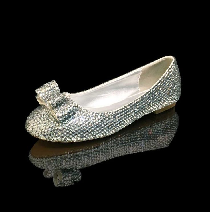 Marc Defang Clear Crystals Luxury Bridal Wedding Ballet Flats with Bow Accent #Closedtoeflats