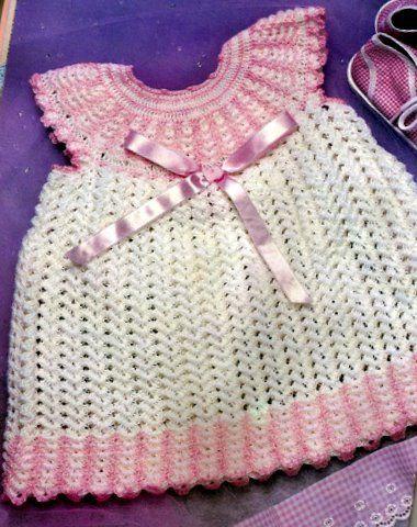 Vestido de crochê para bebe-branco