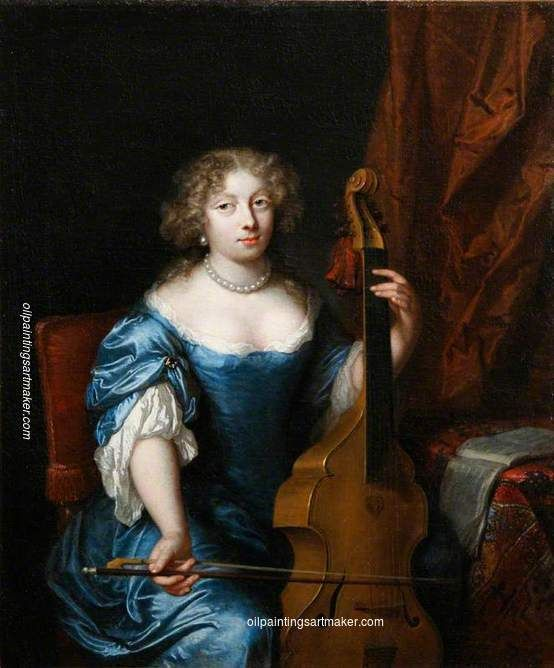 Caspar Netscher Portrait of a Lady Playing a Viola da Gamba, painting Authorized…