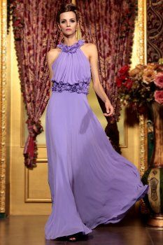 Lavender halter evening dress elegant performances