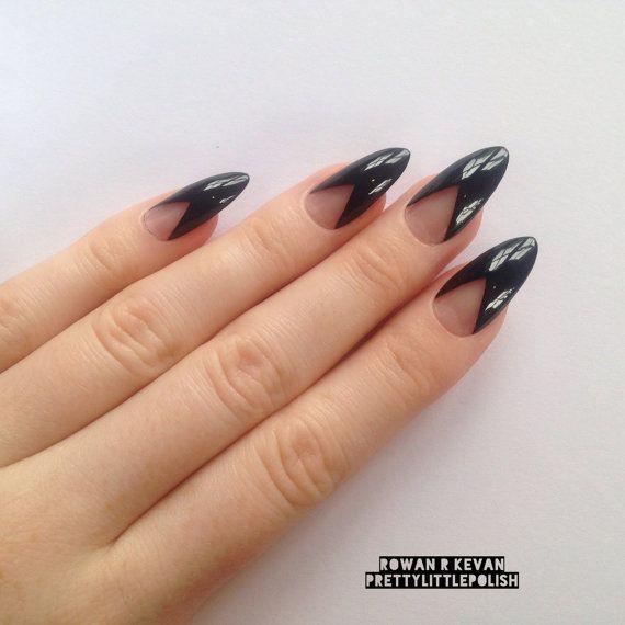 Black French Tip Stiletto Nails Www Pixshark Com