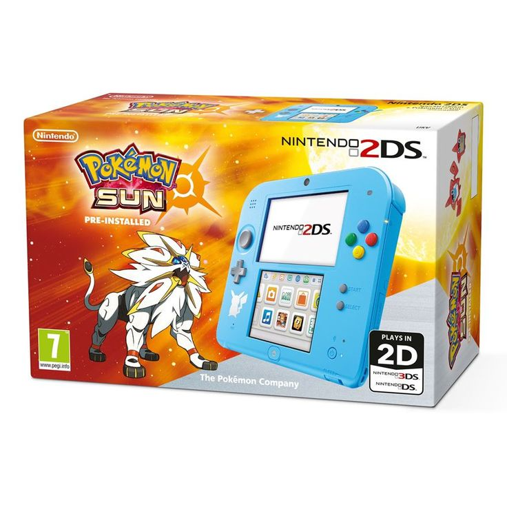 Catch 'em all with this Special Edition Nintendo 2DS and pre-installed Pokemon Sun game. In a vibrant, spearmint blue and the classic button colouring from the Super Nintendo era, this new Nintendo 2DS is every bit the modern handheld console but with a quirky retro vibe. Don't forget the cute white silhouette of Pikachu illustrated beneath the D- pad, too!