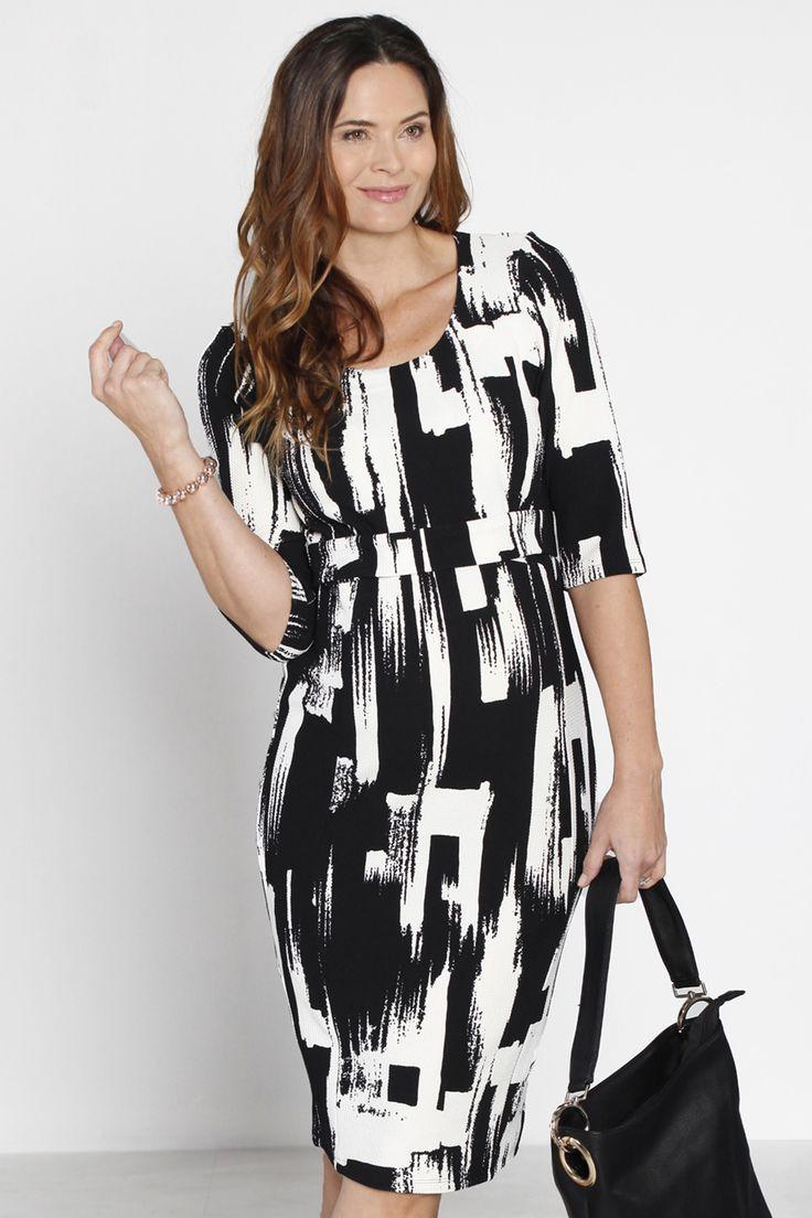 The dress access - Half Sleeve Nursing Dress In Texture Print Milk Baby 1