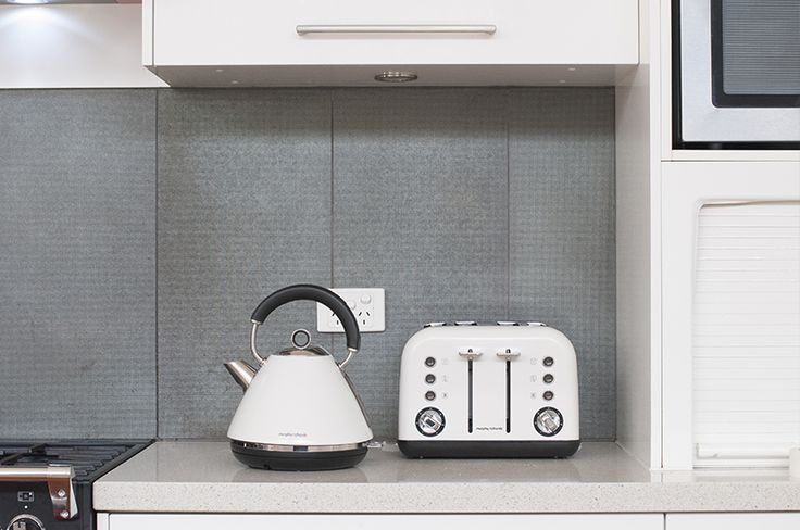 The Accents white set of traditional pyramid kettle and 4-slice toaster from Morphy Richards is clean, aesthetic and efficient.