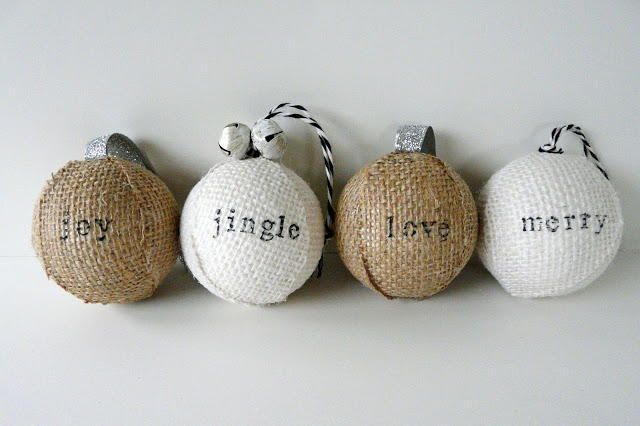 Stamped Burlap Ornaments | Ornaments with a message!