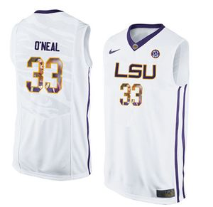 LSU Tigers #33 Shaquille O'Neal White With Portrait Print College Basketball Jersey