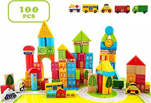 100 Piece City Transportation Building Blocks Colored Wooden Stacking Set Toy For Kids