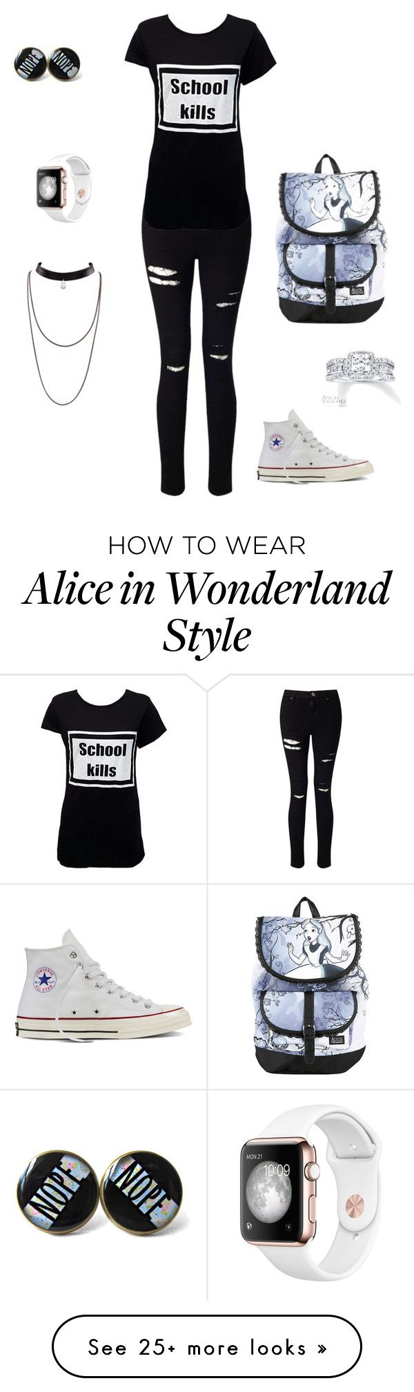 """punk"" by shannon19041 on Polyvore featuring Miss Selfridge, Converse, Disney…"