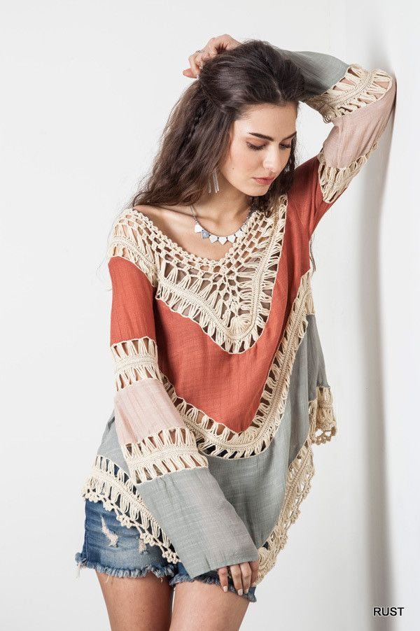 Multi Colored Crochet Top - Rust - Knitted Belle Boutique  - 1