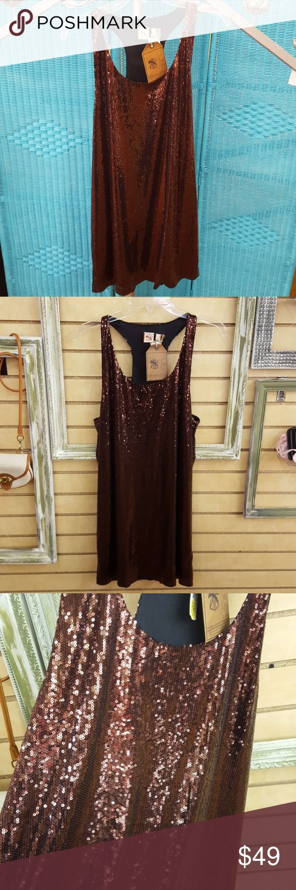 French Connection Denim Brown Sequin Dress NWT New with tags! Gorgeous brown sequin sleeveless French Connection dress. French Connection Dresses
