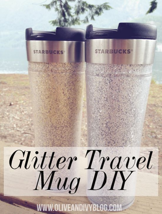 Glam up your morning with this crafty glitter travel mug DIY from Olive & Ivy! Love and we can almost smell the delish coffee!