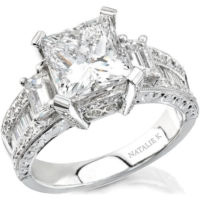 Antique Princess Cut Diamond Engagement Ring Set Under 1500 30