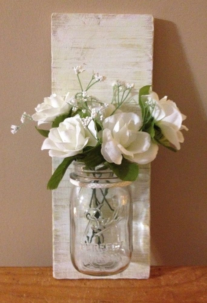 Mason Jar Wall Sconce made with Pallet Wood. Very Shabby, Cottage Chic