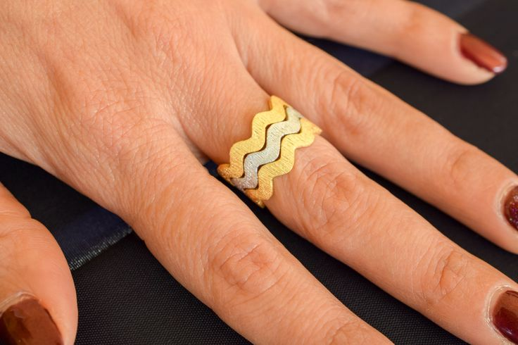 Stackable Zig Zag Ring,925 Sterling Silver,Stackable Wave Ring,Zig Zag,Wave Ring,Modern Design Stacking ,Handmade Zig Zag,Set of three by loiloicreations on Etsy