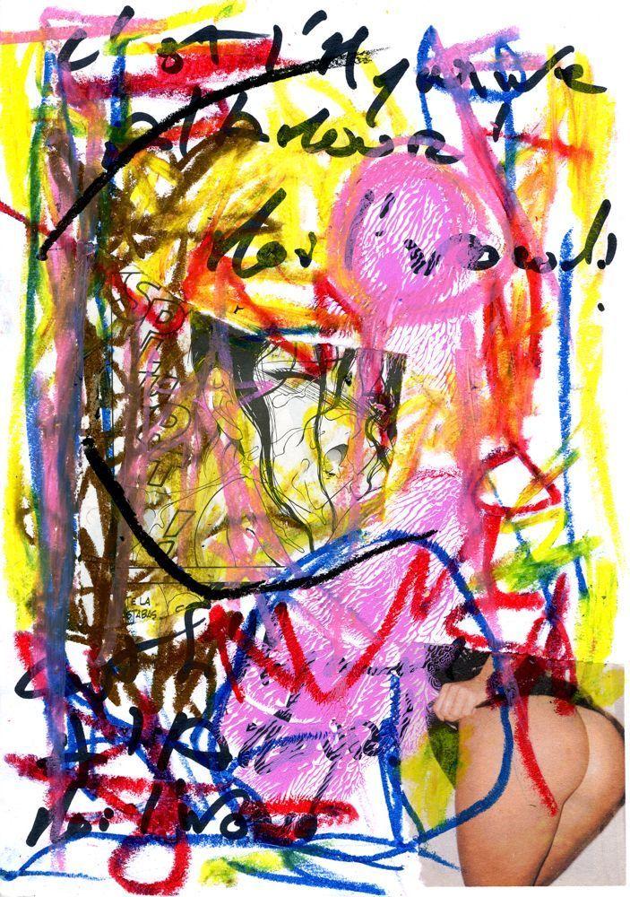 outsider dessin érotique Peinture 20x30 sur papier Art Singulier - Poser Papier A Peindre