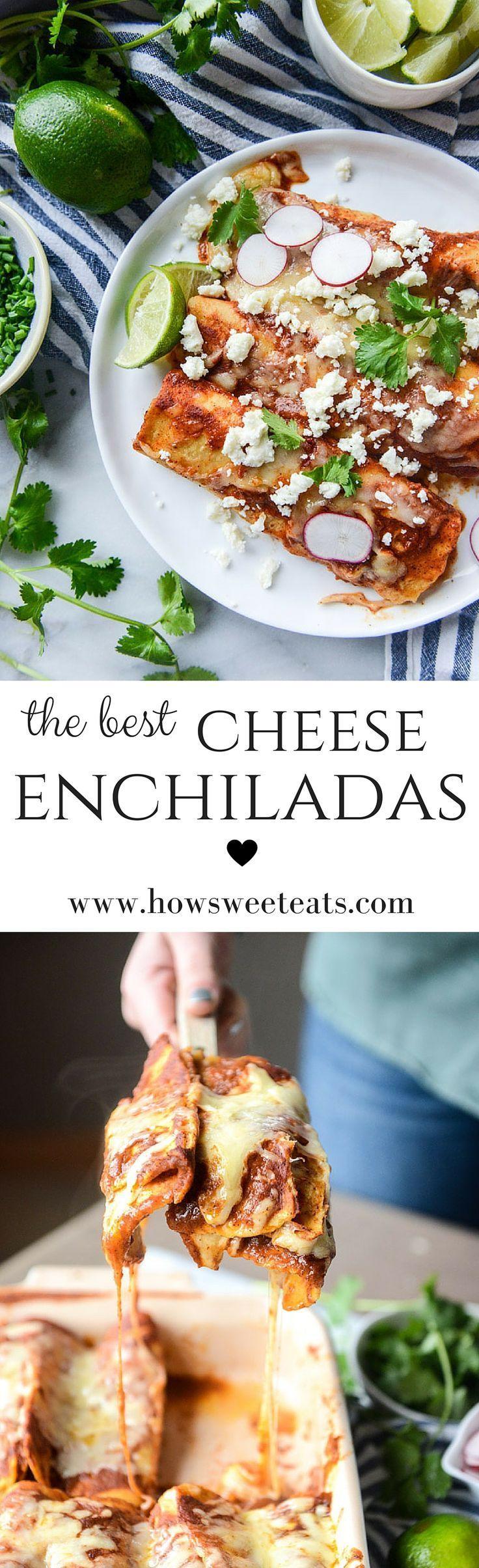 Best Cheese Enchilada Recipe! by @howsweeteatsI http://howsweeteats.com #cheese #enchiladas