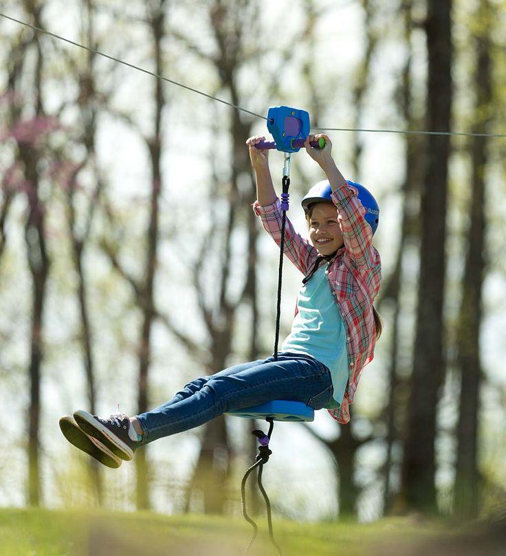 150' Blue Backyard Zipline Kit   HearthSong in 2020   Zip ...