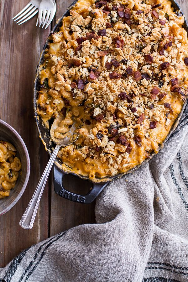 Butternut Squash + Charred Brussels Mac and Cheese with Buttery Bacon Ritz Crackers