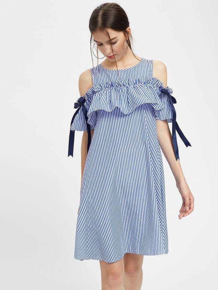 Frill Cold Shoulder Bow Detail Swing Dress -SheIn(Sheinside)