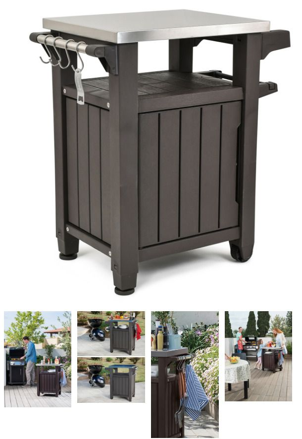 All Weather Bbq Resin Serving Station Storage Grill Table And Prep Station Patio Keter Outdoor Bbq Grill Table Entertainment Storage