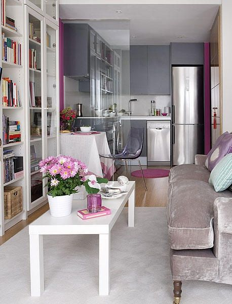 tiny spaces, living room and kitchen, grey and purple tones