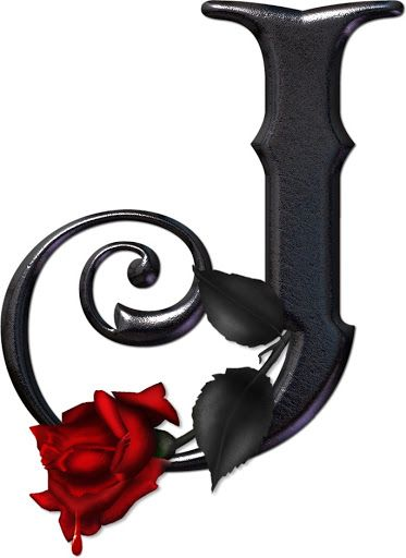 Black J With Red Rose