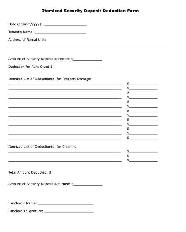 Free Printable Legal Form Itemized Security Deposit Deduction