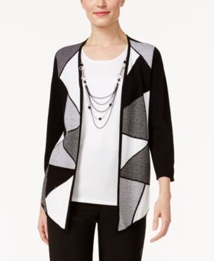 Alfred Dunner Petite City Life Layered-Look Necklace Top - Black P